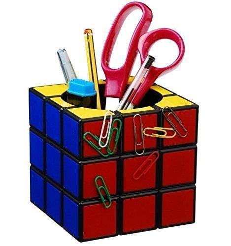 UChic 1 soporte para bolígrafos de color mágico, diseño de cubo retro, magnético, organizador de escritorio clásico