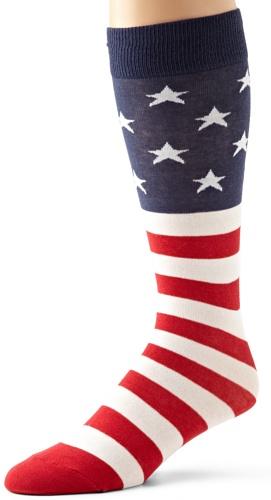 K. Bell Big and Tall Men's Original Novelty Crew Socks, Stars und Stripes (Red/White/Blue), Shoe Size: 6-12