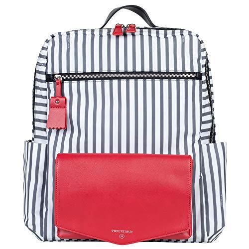 TWELVElittle Peek-A-Boo Wickeltasche Rucksack, (Streifen/Rot), Einheitsgröße