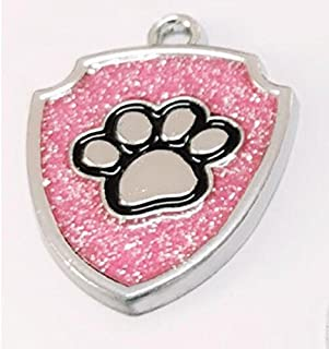Polykor Useful Shield-Shaped Dog Paw Pattern Pet Necklace Accessories Dog Tag(Pink