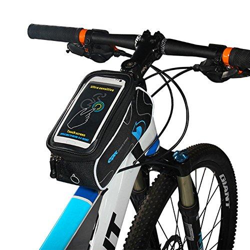 Florally Bicicletta Sacchetto Supporto smartphone bici della bicicletta del borsa del tubo Telaio frontale in PVC trasparente con linea di estensione audio