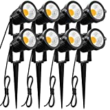 ZUCKEO 5W LED Landscape Lights 12V 24V Garden Lights Waterproof Warm White Walls Trees Flags Outdoor Landscape Spotlights with Stakes (8 Pack)