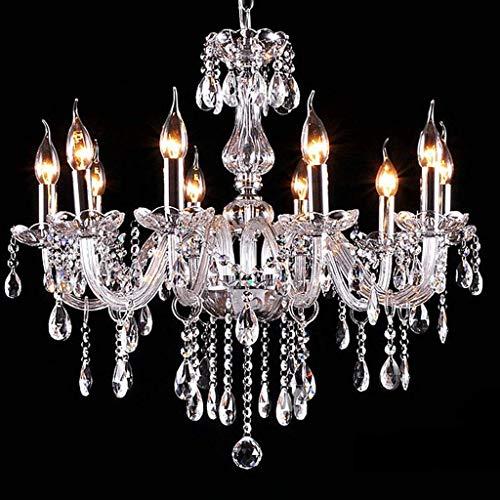 Kristallen kroonluchter K9 LED-verlichting helder 60 cm met 6 armen met 15 eindprisma's LED kristallen kroonluchter plafondlamp hanglamp voor woonkamer eetkamer