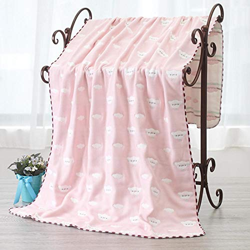 N/A Toallas de baño para el hogar, Toallas de baño de Gasa de algodón de Seis Capas, Mantas Grandes de algodón Transpirables-A-Pink_70x130cm