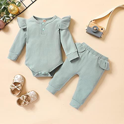 zhushuGG Baby Winter Bodysuit Einfarbig Schlafanzug Set Kind Rüschen Langarm Kinder Strampler Hosen Jungen Mädchen Outfits 3M-18 Monate (Blau, 3-6 Monate)