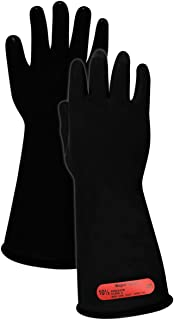 """Magid M014B A.R.C. Natural Rubber Latex Class 0 Insulating Glove with Straight Cuff, Work, 14"""" Length, Size 10, Black (1 Pair)"""
