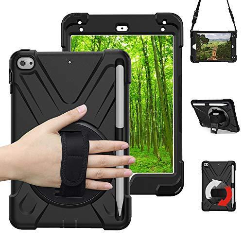 Schutzhülle für iPad Mini 5 für Kinder,iPad Mini 4,stoßfest und robust, mit 360 Grad drehbar Ständer,verstellbar Handgurt und Schultergurt,case for iPad Mini 5,2019 Schwarz