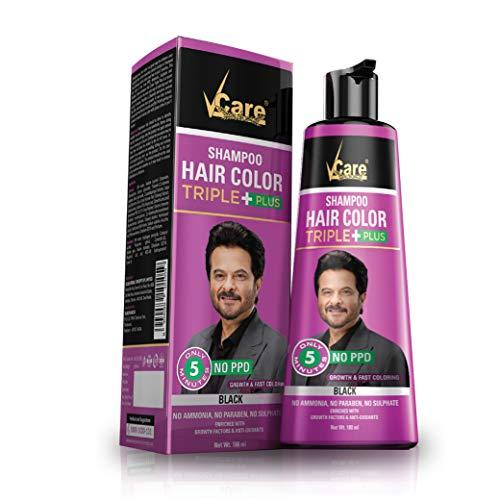 VCare Shampoo Hair Color, Black, 180 ml