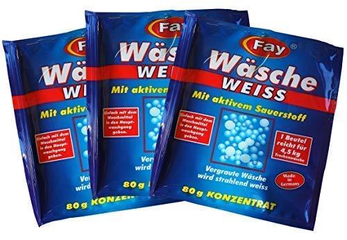 3 x Fay Wäsche Weiss Konzentrat 80g, Aufheller, Aktiv-Sauerstoff, Waschmittel