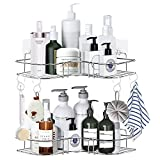 2-Pack Corner Shower Caddy Shelf, Wall Mounted Shower Bathroom Shelf with 4 Hooks, 8 Pack Adhesives, Stainless Steel Rustproof Shower Rack, Storage Organizer for Bathroom, Dorm and Kitchen (Silver)