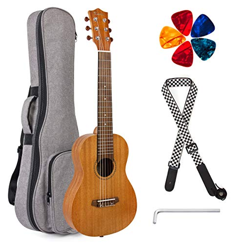 Guitalele 31 inch Guitarlele Mini Travel Guitar Ukulele Mahogany with Gig Bag Tuner Picks Strap By Kmise