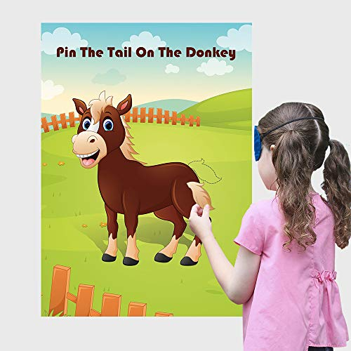 Carnival Fun Pin The Tail On The Donkey Party Game ,for Kids Birthday Decorations Carnival Party Supplies, Game Collection