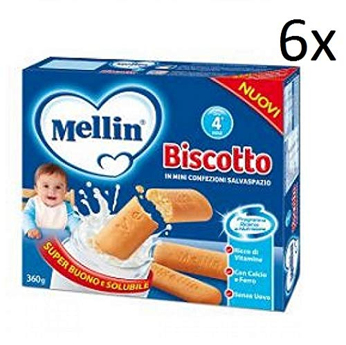 6x Mellin il biscotto dei bambini biscuits kinder kekse 360g ab dem 4. Monaten