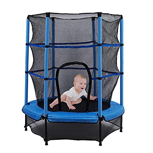 Cama elástica para niños de jardín, 55 pulgadas, mini cama elástica de exterior e interior, con red de seguridad, plegable, cama infantil 140 cm, máximo 50 kg, buenas herramientas de ejercicio (azul)