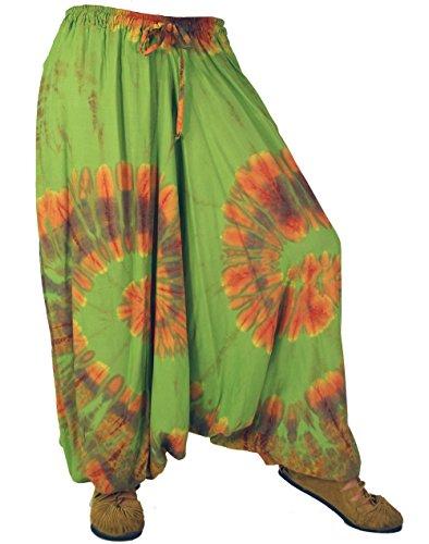 Guru-Shop Batik spodnie alladynki, damskie, niebieskie, syntetyczne, rozmiar: 40, pludry i spodnie aladynkowe, alternatywna odzież