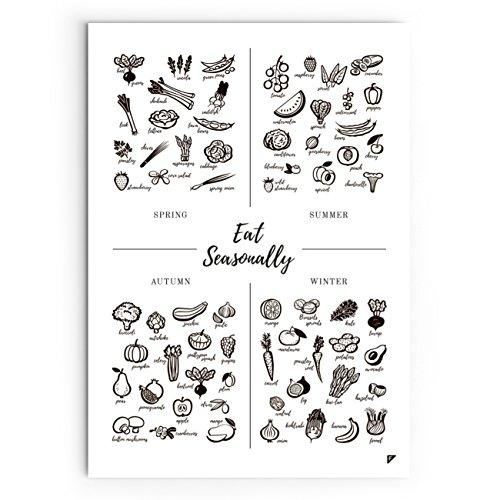 Follygraph Kitchen Poster - Póster de cocina con texto 'Eat Seasonally', papel, 50 x 70 cm