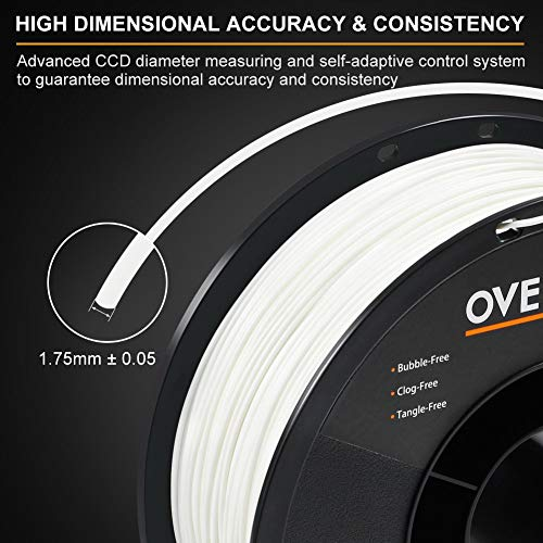 OVERTURE PLA Filament 1.75mm with 3D Build Surface 200mm x 200mm 3D Printer Consumables, 1kg Spool (2.2lbs), Dimensional Accuracy +/- 0.05 mm, Fit Most FDM Printer (White 1-Pack)
