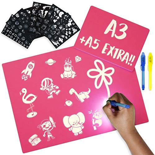 BONNYCO Lavagna Luminosa per Bambini Rosa A3 e A5, 6 Stencil e 2 Penne Spia Lavagna Magica Giochi Bimba 3 4 5 6 7 8 9 10 Anni | Lavagna per Bambini Regali e Giochi Compleanno e Natale