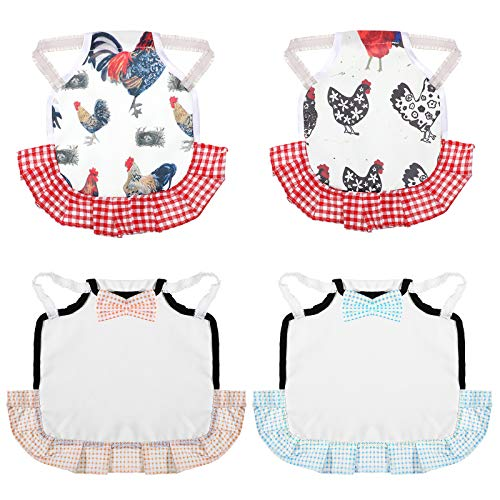 4 Pieces Chicken Jacket Straps Standard Chicken Saddle Hen Apron Poultry Protector Aprons Wing Back Protector with Elasticity Straps for Poultry Back Wing Protection for Small, Medium and Large Hen