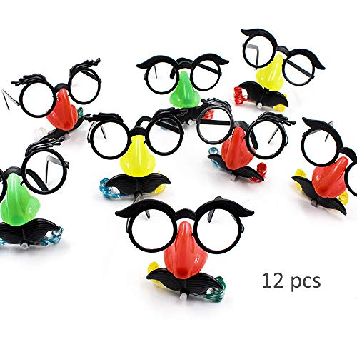HanYoer 12 pack Funny Glasses Fake Nose Eyebrows Blowing Funny Halloween Party Decoration