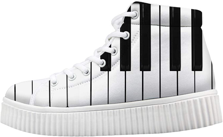 Owaheson Platform Lace up Sneaker Casual Chunky Walking shoes Women Piano Keys