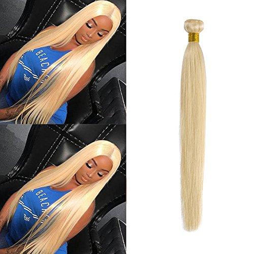 613 Blonde Hair Bundles Weft Unprocessed Brazilian Virgin Human Hair Weave Grade 7A Quality Brazilian Hair Extensions 10-24inch Weave Weft Thick Straight 24' / 24 inch #613 Bleach Blonde 100g