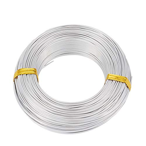 PandaHall 328 Fuß Silber Aluminiumdraht 1,5 mm / 15 Gauge Metall Handwerk Draht für DIY manuelle Kunst Schmuckherstellung (Silber)