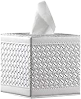 YAPISHI Tissue Box Cover Square Leather Napkin Holder Pumping Paper Case Dispenser, Modern Facial Tissue Box Holder for...
