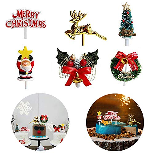 6 Pieces Christmas Cake Toppers Santa Deer Star Tree Bell Garland Festive Stand UP Muffin Cupcake Xmas Cake Toppers Party Table Cake Edible Birthday Wedding Decorations
