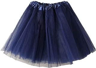 Creazrise Women's Classic Elastic 3 or 4 Layered Tulle Tutu Organza Lace Mini Skirt