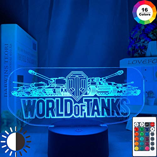 OMCR Illusion 16 Farbe Nachtlicht, LED-Wecker Basis, Militär Panzer, Lampe 16 Farben 3D gedruckt USB Wiederaufladbare LED Nachtlicht Moderne Stehleuchte Dimmbare Touch Control Tischlampe Helligkeit Li