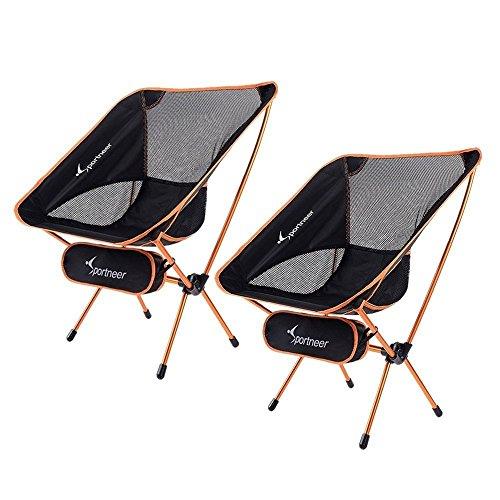 Chaise de Camping, Sportneer® Lot de 2 Portable Léger Pliable Camping Chaise pour Backpacking/Randonnée/Pique-Nique/Pêche/Plage/Jardin (Charge de Poids 158kg)