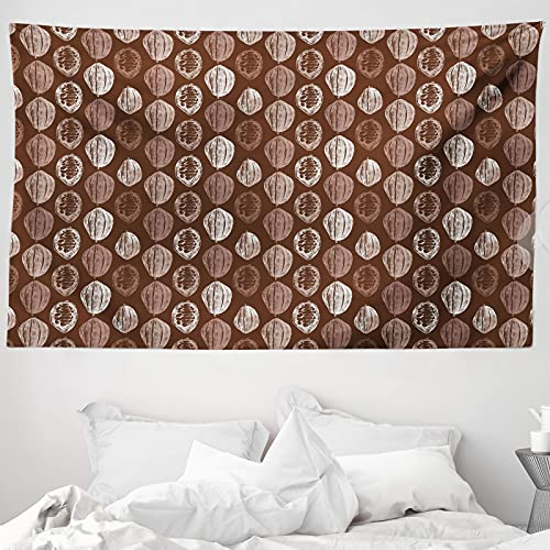 ABAKUHAUS Kakao Wandteppich & Tagesdecke, Hand Drawn Bohnen Grungy Blick, aus Weiches Mikrofaser Stoff Wand Dekoration Für Schlafzimmer, 230 x 140 cm, Schokolade & Weiß