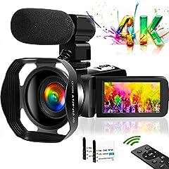 4Kビデオカメラ デジタルビデオカメラ Wi-Fi機能 48MP 30FPS IR夜視機能 18倍デジタルズーム 外付レンズフード 予備バッテリー タッチモニター 外付けマイク ウェブカメラ用 HDMI出力2.4Gリモコン付き 充電スタンド付きYouTubeカメラ 日本語説明書