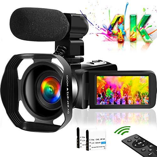 ビデオカメラ4K YouTubeカメラ 4800万画素 18倍デジタルズーム WIFI機能 タッチスクリーン 暗視機能 外付けマイク 最大128GBカード レンズフード付き 予備バッテリあり 360°遠隔操作 六国語取扱説明書 日本語システム