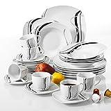 VEWEET Tafelservice 'Fiona' aus Porzellan 30 teilig   Kombiservice beinhatlet Kaffeetassen 175 ml, Untertasse, Dessertteller, Speiseteller und Suppenteller  Komplettservice für 6 Personen