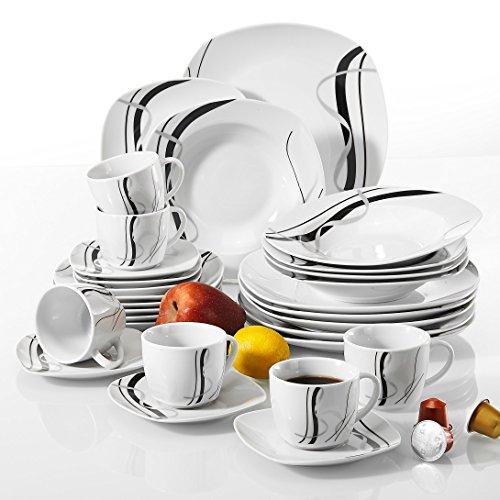 VEWEET Fiona Piatti Servizio in Ceramica Set di Posate 30 Pezzi con 6 Tazze 175 ml, 6 Piattini, 6 Piatti Piani, 6 Piatti Fondi e 6 Piatti da Dessert per 6 Persone
