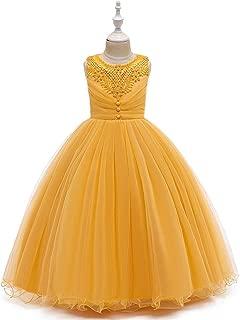 Luxury Princess Dress Girls Princess Dress Children Dress Flower Girl Dress Wedding Dress Catwalk Sleeveless Dress Tutu Dress Costumes Presided Over The Piano ryq (Color : Yellow, Size : 130cm)