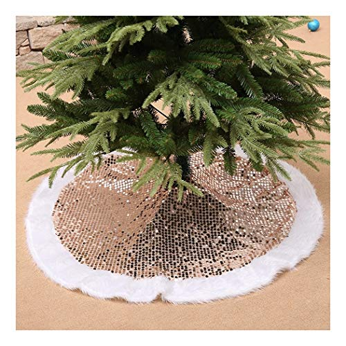 SDSQSCL Colore Paillettes Albero di Natale Gonna Albero di Natale Decorazioni Decorazioni di Natale Home Casa Decor,Golden