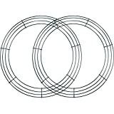 Sumind 2 Pack Wire Wreath Frame Wire Wreath Making Rings Green for New Year Valentines Decoration (14 Inch)