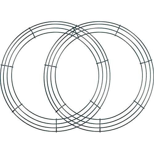 2 Pack Wire Wreath Frame Wire Wreath Making Rings Green for New Year Valentines Decoration (14 Inch)