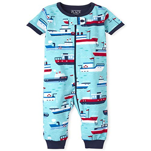 The Children's Place Baby and Toddler Boys Boat Snug Fit Cotton One Piece Pajamas, Teal WE Meet, 4T
