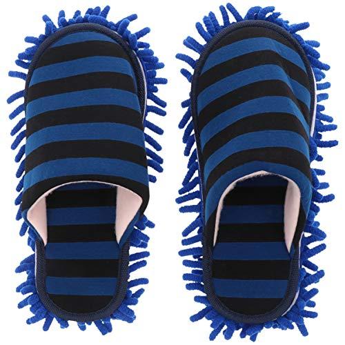Angoily Blau Mikrofaser Hausschuhe Boden Reinigung Mop Slipper Abstauben Schuhe Boden Staub Schmutz Reinigung Pantoffel für Männer Frauen Warme Hausschuhe Reinigung Werkzeuge