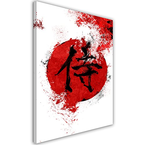 Feeby. Cuadro en lienzo - 1 Parte - 40x50 cm, Imagen impresión Pintura decoración Cuadros de una pieza,Kanji samurai - Nikita Abakumov, JAPÓN, ROJO, KANJI