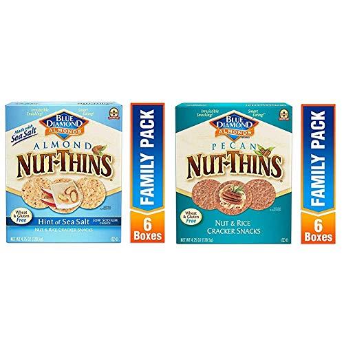 Blue Diamond Almond Nut Thins Cracker Crisps, Hint of Sea Salt, 4.25 Ounce (Pack of 6) with Blue Diamond Pecan Nut-Thins Cracker Crisps, 4.25 Ounce (Pack of 6)
