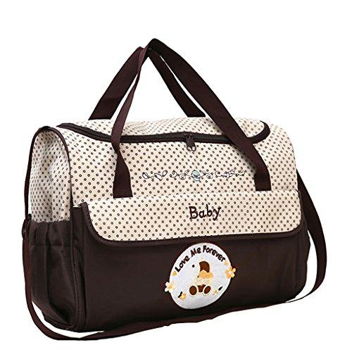 Wickeltasche Umhängetasche Babytasche Handtasche Tote Henkeltaschen Windeltasche für Mama und Papa - Braun, wie beschrieben
