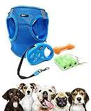 JACUTATA Pack » Arnes Perro Pequeño Tipo Chaleco + Correa Extensible de Perro + Mordedor de Goma para Perros + Bolsas para excrementos de Perro (XL Pecho 46-55cm, Azul)