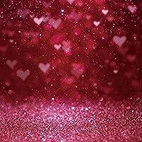 背景布 スタジオ写真の赤い背景ハートパターンバレンタインデーの愛ボケドリームドリームパターン-7x5ft