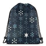 Fiocco di neve catena di cristallo coulisse zaino sport palestra zaino borsa da viaggio per bambini uomini donne