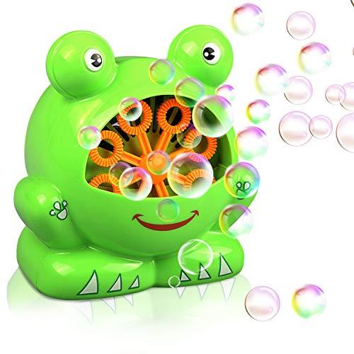 Máquina de burbujas rana automática Gifort, máquina sopladora de burbujas portátil, soplador de burbujas alimentado por batería (batería not incluida) para niños pequeños, juguetes ideales para niños.